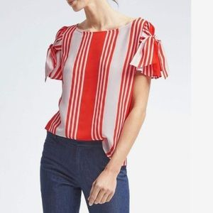 Banana Republic Bow Sleeve Diane Stripe Top blouse